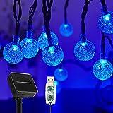 Guirnaldas Luces Exterior Solar, 60LED 11M Luces Solares Led Exterior Jardin con USB energizado por, 8 Modos & Impermeable Cadena de Hadas para Jardín, Eésped, Patio, árbol de Navidad(Azul)