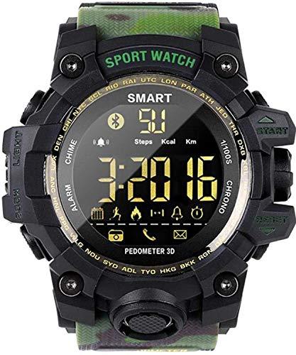 Topsale-ycld EX16 Time Owner Reloj Bluetooth Reloj Inteligente Notificación Control Remoto Podómetro Reloj Deportivo IP67 Reloj Impermeable para Hombres (Color : Green Camo)