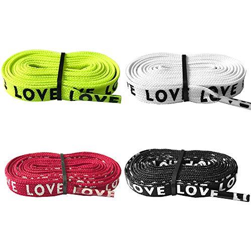 """Daimay 4 pares Texto""""LOVE"""" impreso Cordones planos Zapatillas de repuesto para zapatillas de deporte. Intercambio de cordones de zapatos - 1.2M - Negro/blanco/Granate/Verde fluorescente"""