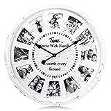 Lafocuse 68cm Reloj de Pared Madera Blancos con 12 Marco de Fotos DIY Reloj Cuarzo Crema Personalizado Silencioso Grande para Bar Salon Comedor
