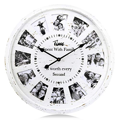 """Lafocuse 27"""" Extra Large DIY Personalized Family Memory Photo Wall Clock Cream Wooden Distressed Silent Quartz Clocks for Living Room Lounge"""