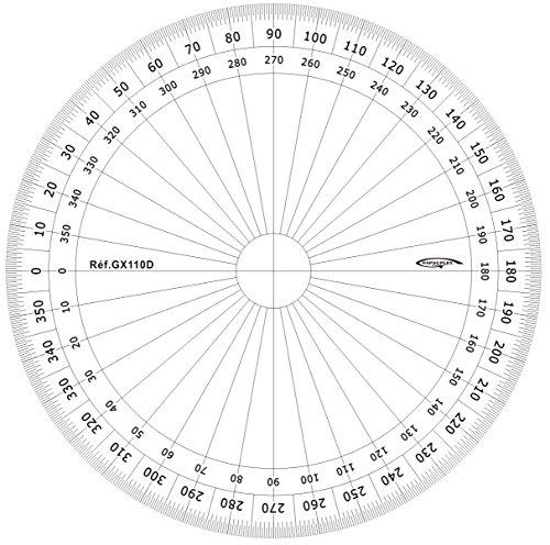Graphoplex - Transportador de ángulos (circular, 360°, plexiglas, escala en grados, 10 cm de diámetro), transparente