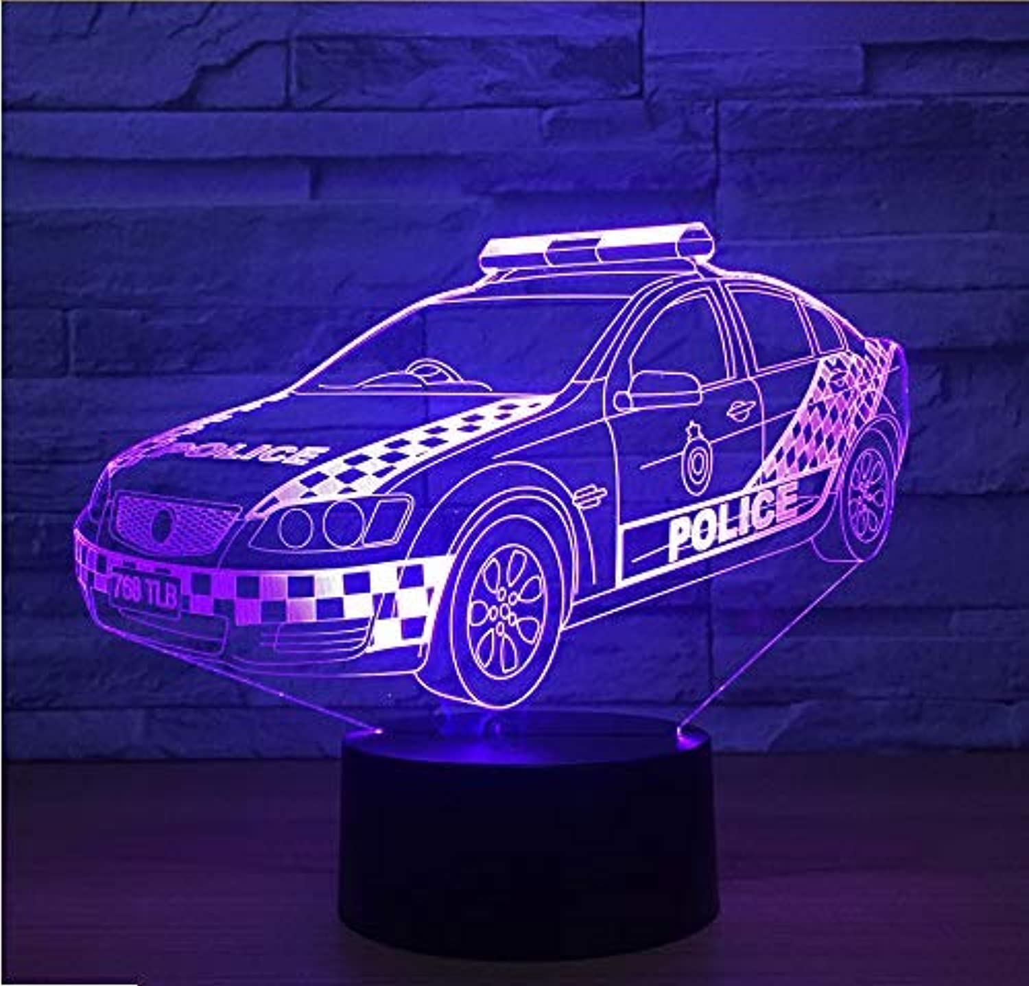 BMY Police Car Mode3D Led Night Light USB Touch Table Lamp Remote Control Home Bedroom Decoration
