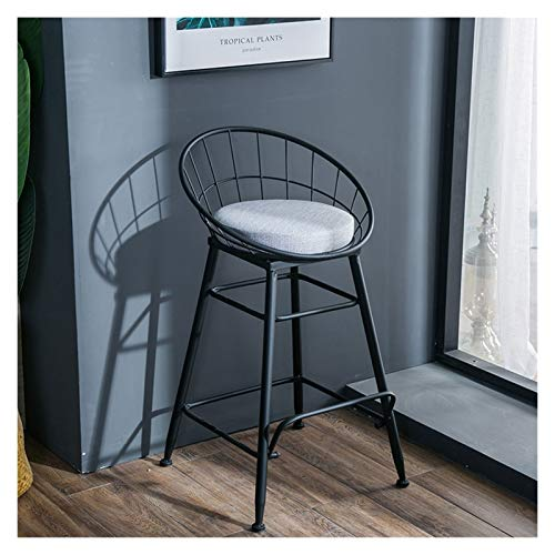 Luorizb Nordic Wrought Iron Bar Stools Coffee Shop High Stools Modern Minimalist Net Red Milk Tea Shop Bar Counter Cash Register High Chairs (Color : Black, Size : 65cm)