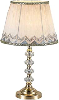 JJZXD White Ruched Fabric Crystal Table Lamp Crystal Base Glam Bedside Desk Lamps Bedroom Living Room Dimmable