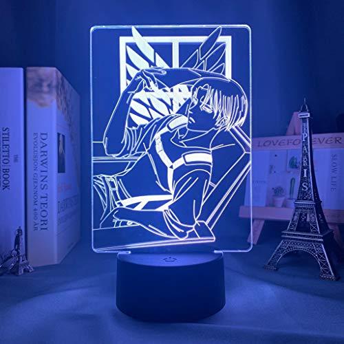 Levi Ackerman Attack on Titan LED Luz de Noche USB Lámpara de Mesa Lámpara Lectura Recargable Luz Nocturna Infantil LED Vistoso LED Luz de Nocturna RGB Portátil Lámpara de Tabla Para Niños Habitación