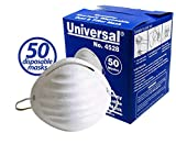 Universal 4528 Non-Toxic Disposable Dust & Filter Safety Masks (50 Count Box)