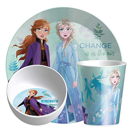 Zak Designs Disney Dinnerware Includes Made of Durable Melamine Material and Perfect for Kids (3-Piece Set), Frozen 2 Anna & Elsa-Plate-Bowl-Tumbler (3pc)