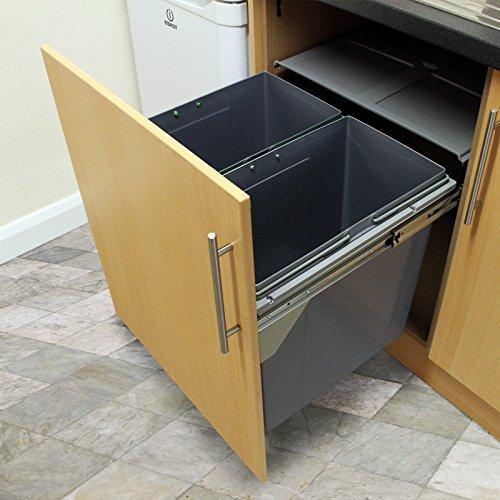 KuKoo - 2 Cubos de Basura para Reciclaje Capacidad Max 25kg para Cocina Comercial 49,5cm
