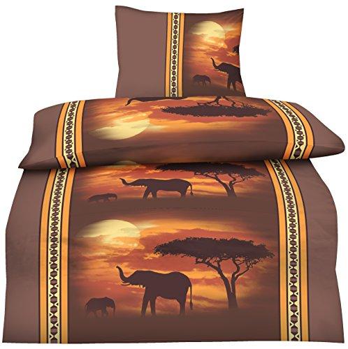 one-home 4 teilige Bettwäsche 135x200 cm Afrika Elefanten braun orange Mikrofaser Set