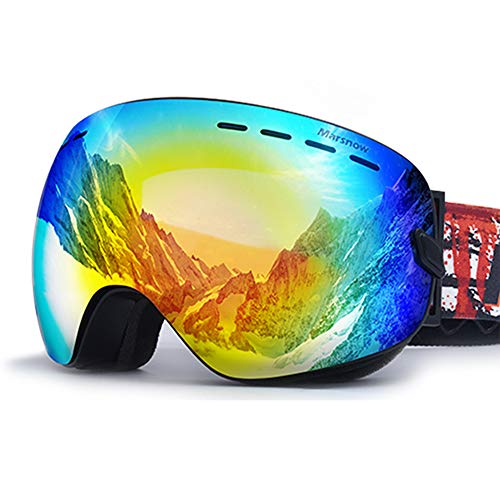 Feng Xu Ski bril - TPU/PC, dubbele anti-mist, twee lenzen uitwisselbaar, siliconen anti-slip tape, kan brengen in bijziendheid, volwassen mannen en vrouwen skiën en klimmen super grote bolvormige REVO gecoate gogg