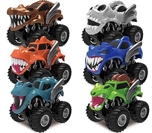 JOYIN Pack 6 Pack Monster Trucks Coches de Juguetes para Niños Camión Monstruos Wheels con Motor Fricción