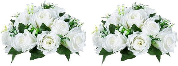 Nuptio Pcs of 2 Fake Flower Ball Arrangement Bouquet,15 Heads Plastic Roses with Base,..