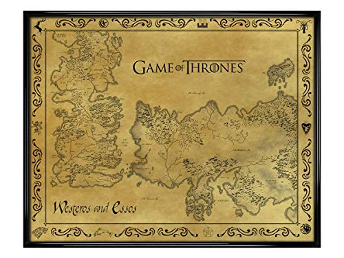 Game of Thrones Antique Map GoT Ingelijste Mini Poster Affiche 40x50cm