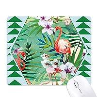 熱帯植物のフラミンゴ動物 オフィスグリーン松のゴムマウスパッド