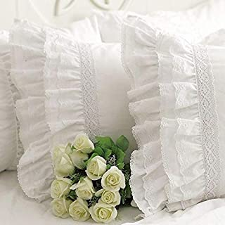 Queen's House Shams Queen Size Shabby Vintage White Embroidery Lace Ruffle Pillowcase Pillow Sham-1 Piece