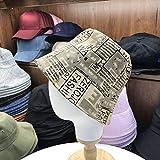wtnhz Artículo de Moda - Sombrero-Sombrero Femenino versión Coreana de la Personalidad Marca de Marea Sombrero de Pescador nicho Masculino Letras de impresión Cubierta Cara Retro Sombrero de Cubo