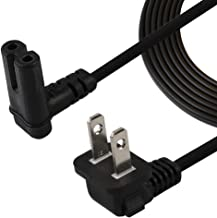 TV Power Cord,6FT/1.8Meter Dual Angled (L-Type Angle) IEC 320 C7 to Nema 1-15P AC Power Cord, NISPT-2 18AWG 2-Slot 90 Degree Nema 1-15P to IEC C7 (Figure 8) Right Angle AC Power Cable