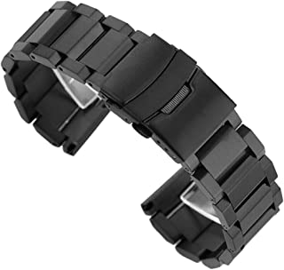 Stainless Steel Watch Band Brushed Finish Metal Watch Strap 18mm/20mm/22mm/24mm Double Buckle Bracelet Black,Silver & Rose Gold