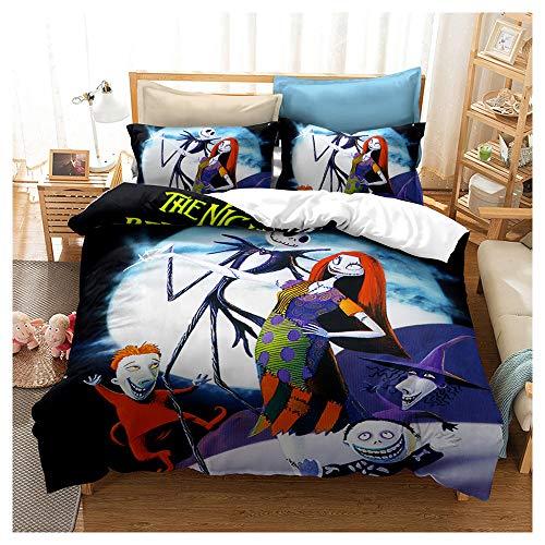 HOXMOMA Duvet Cover Set Nightmare Before Christmas Theme, 3D Printing Bedding, Bedroom Decor Quilt Cover, Hypoallergenic Microfiber Bedding Set for Children, Teens,Black,Single135x200cm