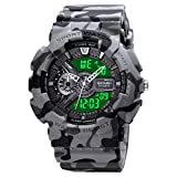 Mens Digital Sports Watch Large Face Sports Outdoor Waterproof Military Chronograph Wrist Watches for Men with Date Multifunction Tactics LED Army Stopwatch Grey