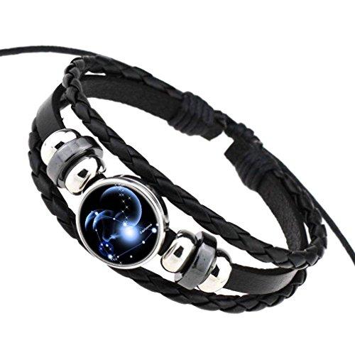 COMVIP Pu Leder Damen Herren Sternbild Form Armbänder Armkette Armkettchen Mit Horoskop Anhänger Steinbock