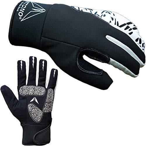 ATTONO Winter Fahrradhandschuhe Winter Gel Fahrrad Handschuhe mit wasserdicher Membrane - Größe 10/XL