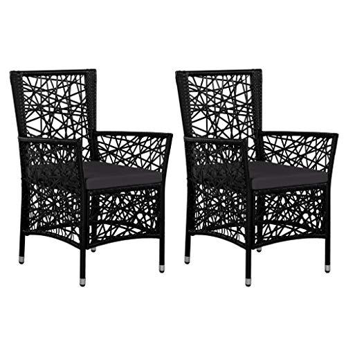 Festnight Lot de 2 Chaises de Jardin résine tressée Chaise d Exterieur Chaise pour terrasse Fauteuil 58 x 61 x 88 cm Noir