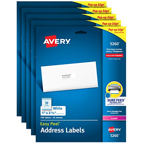 """AVERY Address Labels with Sure Feed for Laser Printers, 1"""" x 2-5/8"""", 3,750 Labels – Great for FBA Labels (5 Packs 5260)"""