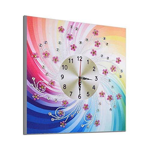 Paint by Numbers-5D Diamond Painting Clock Kits 13.8 inch Silent Wall Clock DIY Full Drill Crystal Rhinestone for Home Wall Decor