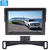Rohent HD Backup Camera and Monitor Kit with Two Video Channels License Plate Hitch Rear View Camera for Cars Trucks SUVs Driving Rear/Front View Observation System Super Night Vision-R1