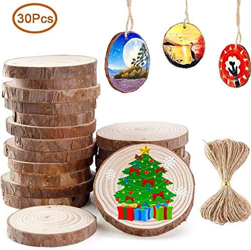 Holz Scheiben zum basteln 30 Stück(Durchmesser 6-7 cm), Natur DIY Handgemachte Handwerk Bemalen Dekoration Holz Scheiben mit Loch Tischdeko Hochzeits- und Weihnachtsdekoration mit 10M Jute Twine