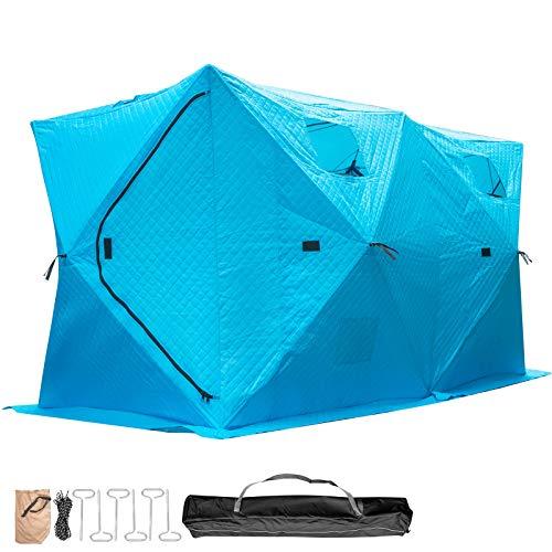 VEVOR Refugios de Pesca en Hielo Tienda de Pesca de Invierno Tienda de Refugio Portátil Impermeable Carpa Tienda de Pesca de Hielo para 8 Personas Color Azul