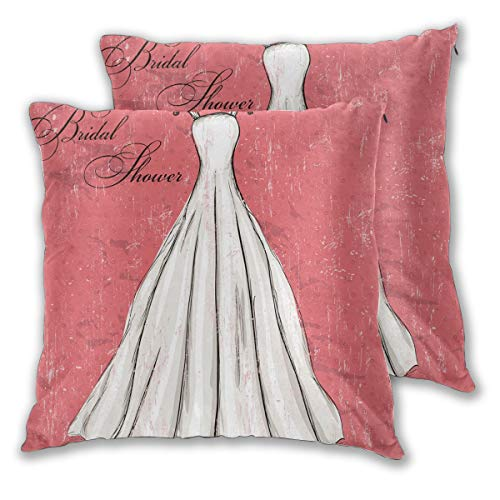 LISNIANY Cushion Cover,Pink Wedding Bride Party Print,Pillow Case Cover Square Cushion Cover for Sofa Car Home Bed Decor 45 x 45cm