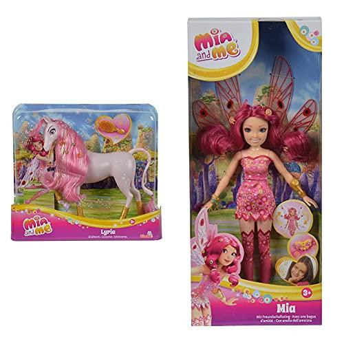Simba 109480094 - Mia and Me Einhorn Lyria & 109480089 – Mia and Me Neue Puppe Mia mit Glasaugen