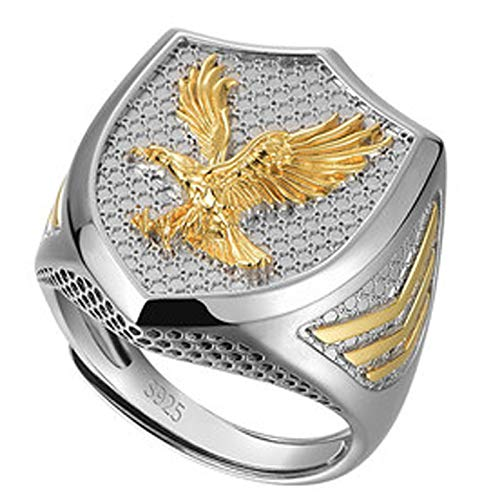 RXSHOUSH Anillo de plata S925, de oro de 18 quilates, anillo único abierto, anillo de regalo de la suerte para hijo y novio, dorado