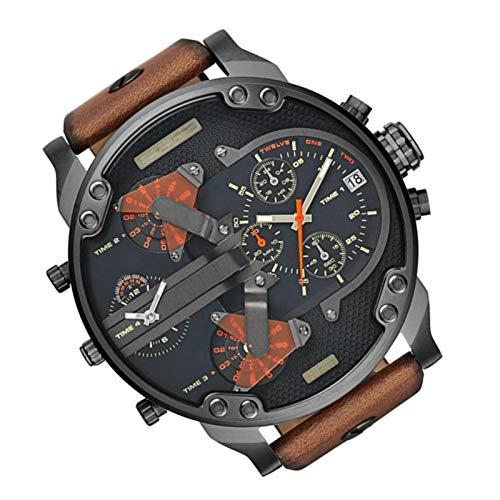 Tuaha Wristwatch Men Stainless Steel Fashion Quartz Watch Leather Band Luxury Clock Mens Sport Quartz Watch with Big Dial Clock for Mens Wristwatches Regular Contribution heathly