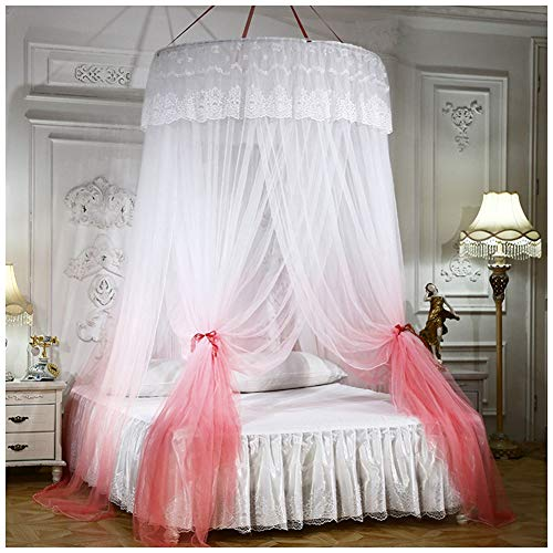 Große Romantische Farbverlauf Kuppel Moskitonetz Vorhang Prinzessin Bett Baldachin Spitze Runde Betthimmel für Kinder Erwachsene Fliegen und Insekten-Schutz und Dekoration(Höhe :2.7M) Pink