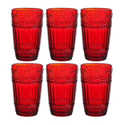 Glass Tumblers,12 oz Embossed Design Drinking Glasses Set of 6 (Red)