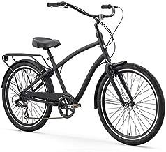 sixthreezero EVRYjourney Men's 7-Speed Hybrid Cruiser Bicycle, Matte Black w/Black Seat/Grips, 26