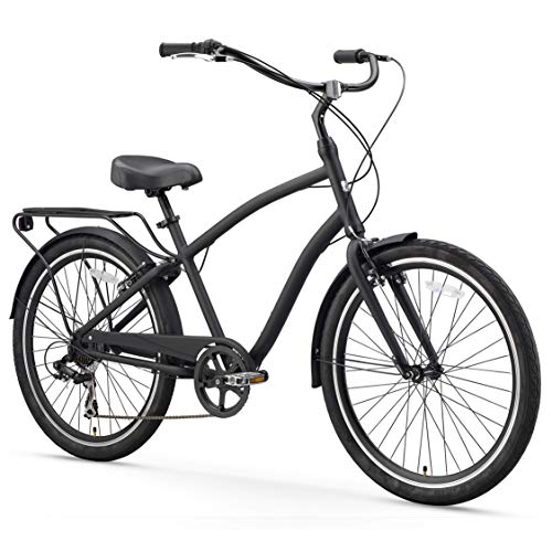 "sixthreezero EVRYjourney Men's 7-Speed Hybrid Cruiser Bicycle, Matte Black w/Black Seat/Grips, 26"" Wheels/19 Frame (630036)"