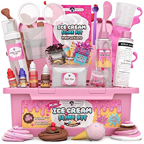 Original Stationery Mini Ice Cream Slime Kit Fluffy -Slime para Niñas, Niños 7 a 12 Fabrica de Slime Fluffy Edición Heladería! Haz Helados Esponjosos de Mantequilla- Regalo Infantil