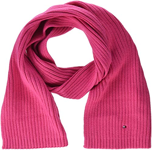 Tommy Hilfiger Unisex PIMA Cotton Cashmere Scarf sjaal, roze (Pink Flambe 902), één maat (fabrikantmaat: OS)