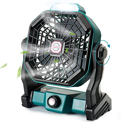 CONBOLA Portable Desk Fan with LED Lantern, Small Rechargeable Quiet Camping Fan, 10 Inch Battery Operated Cooling Personal Table Fan with Hanging Hook for Tent, Travel, Bedroom, Home, Office