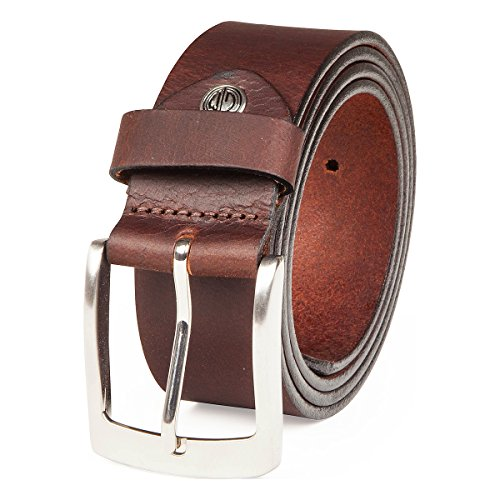 Lindenmann Mens leather belt/Mens belt, full grain leather belt XXL, 2 Colors, black/dark brown, Größe/Size:140, Farbe/Color:marrone