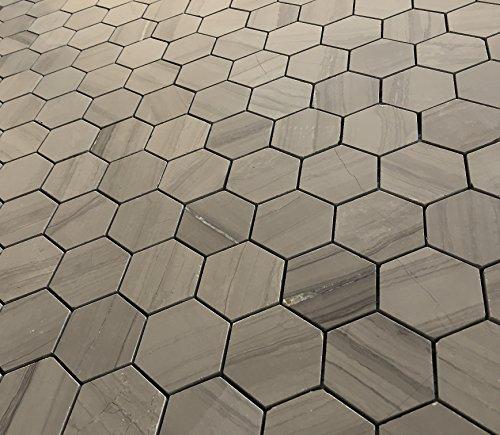 Athens Gray 2' Hexagon Marble Mosaic Tile Backsplash Wall Floor