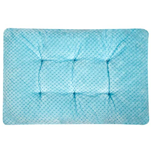"""Fuzzy Deluxe Pet Beds, Super Plush Dog or Cat Beds Ideal for Dog Crates, Machine Wash & Dryer Friendly (15"""" x 23"""", S-Ice Blue)"""