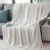 Waekoud 100% Cotton Cable Knit Throw Blanket, Home Decorative Knitted Blanket, Cozy Warm Knitted Couch Cover Blankets for Couch, Sofa - Extra Cozy, Machine Washable (Cream, 50' x 60')