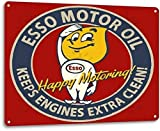 SRongmao Esso Motor Oil Garage Motor Gas Station Auto Retro Wall Decor Metal Tin Sign 8x12in