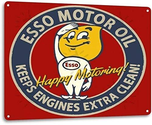 SRongmao Esso Motoröl Garage Motor Gas Station Auto Retro Wanddekoration Metall Blechschild 20,3 x 30,5 cm